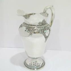 11 5/8 in Sterling Silver Watson Co. Antique 4 Pints Floral Water Pitcher
