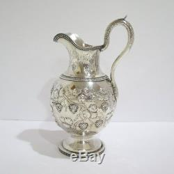 12.25 in Coin Silver Jones Ball & Co. Antique 1845 Grape Pattern Water Pitcher