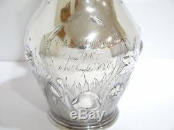 13 1/8 in Coin Silver Gorham Antique Flower Cattail Decorated Water Pitcher