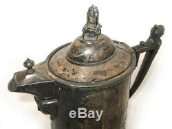 13 ANTIQUE 1854 REED & BARTON SILVER Plate Etched SILVERPLATE Ice Water PITCHER