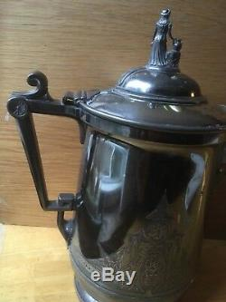 13 Antique 1854 Reed & Barton Silver Plate Etched Ice Water Neptune Pitcher