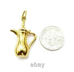 18K Yellow Gold 3D Water Jug Coffee Pot Pitcher Charm Pendant Necklace 2.9g