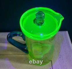 1920s Tiffin Water Jug Pitcher w Lid Green Uranium Glass w Blue Handle