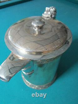 19th CENTURY tilting water pitcher MERIDEN BRITANNIA CERAMIC INSERT AESTHETIC r