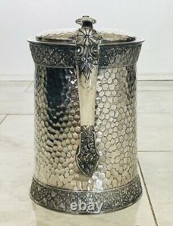 19th CENTURY water pitcher MERIDEN BRITANNIA 10 Double Walled Enamel Inside