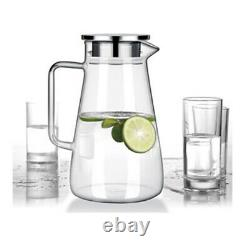 52 Ounces Glass Pitcher with Lid Heat-resistant Water Jug for Hot/Cold Water Tea