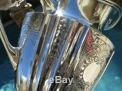 7pc OLD AMERICAN WATER PITCHER GOBLET CUP SET STERLING SILVER REED BARTON HEAVY
