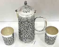 925 Sterling Silver Antique Repousse Water Jug Set 2 Glasses Decorative