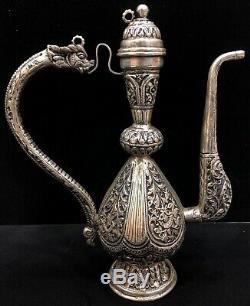 925 Sterling Silver Ewer Dragon Handle Water Jug Showpiece Floral Repoussé Home