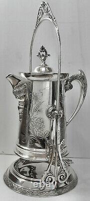 A LOVELY ATQ! Slv Plate B. G. UHER TILT WATER PITCHER COFFEE POT STAND wCUP HOLDER