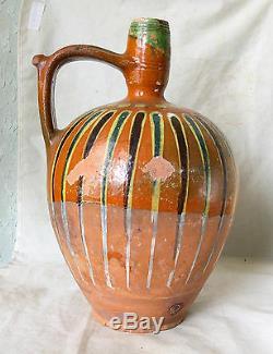 ANTIQUE 19`c HUGE 8 L REDWARE Glazed Pottery Ceramic Water Wine PITCHER JUG EWER