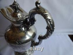 ANTIQUE SILVER PLATED ORNATE CLARET / WATER JUG WALKER & HALL HEIGHT 24 cm