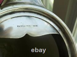 ANTIQUE TANKARD WATER PITCHER QUADRUPLE SILVER PLATE WILCOX Co DUCK HANDLE 1878