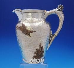 Aesthetic Mixed Metals Gorham Sterling Silver Water Pitcher Applied Bird (#3665)