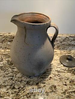 Antique 1850 Redware Handmade Salt Glazed Stoneware Water Pitcher Jug Lid Signed