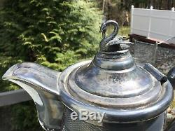 Antique 1858 Meriden Britannia Company Double Wall Water Pitcher Swan Top