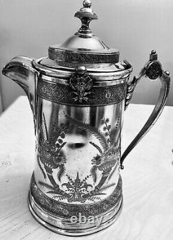 Antique 1879 Reed & Barton Ice Water Pitcher Aesthetic Victorian Silverplate