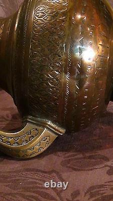 Antique 18c Islamic Copper Punjab Water Pitcher, Jug Hand Engraved Islamic
