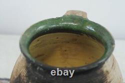 Antique 18th Century Terra Cotta French European Jug Pitcher Oil Water Slip Glaz