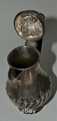 Antique Birmingham England silver milk pitcher hot water jug pot baluster form