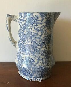 Antique Blue & White Spongeware Splatterware Stoneware Pitcher Water Jug 9 Nice