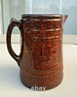 Antique Brown Indian Stoneware Swastika Good Luck Water Milk Jug Pitcher