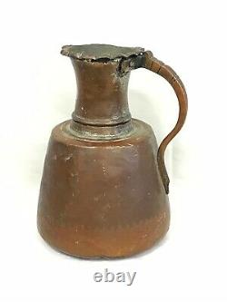 Antique Copper Hand Hammered Jug Water Pitcher Great Patina Primitive
