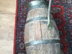 Antique Country Oak Brass Banded Water Pitcher Wine Jug