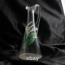 Antique Czech hand painted Lily of the Valley blown glass water pitcher jug