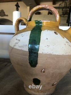 Antique FRENCH Clay Water Pitcher, YELLOW&GREEN Glaze, early 1900s