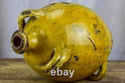 Antique French Provincial Conscience jug with yellow glaze water / oil