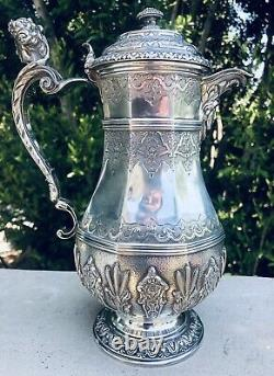 Antique French Sterling Silver Figural Ewer Coffee Water Tea Pot Jug Pitcher
