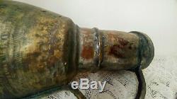 Antique Handmade Hammered Copper Brass Heavy Primitive Water Pitcher Jug 14'