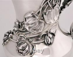 Antique Kerr Art Nouveau Lotus Flowers & Pads Sterling Silver Water Pitcher