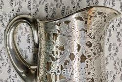 Antique La Pierre Sterling Overlay Water Pitcher Vintage Grape Pattern As Is