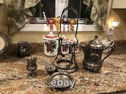 Antique Large Monarch Silver Co 4 Piece Victorian Water Pitcher Set-history