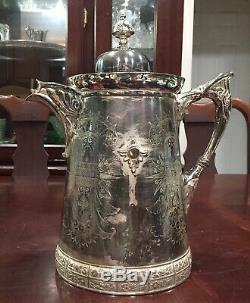 Antique Meriden B. Company Silver Plated Water Pitcher # 17 1868