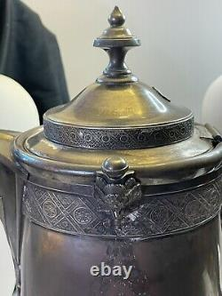 Antique Reed & Barton Silver Plate Pitcher Ice Water Tankard With Ceramic Insert