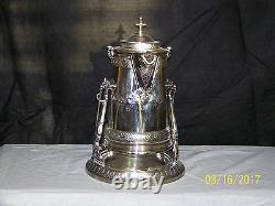 Antique Reed & Barton Silver Porcelain Insert Tilting Hot Water Pitcher