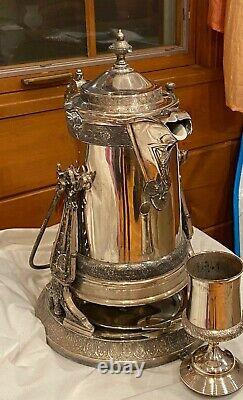 Antique Reed & Barton Silver Tilting Water Pitcher with Goblet, Drip Tray & Jug