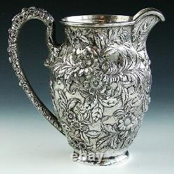 Antique Signed S. Kirk and Son Sterling Silver Repousse Water Pitcher