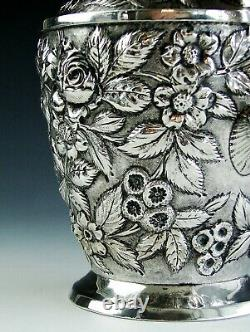 Antique Signed Schofield Sterling Silver Baltimore Rose Repousse Water Pitcher
