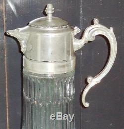 Antique Silver Italy EP Zinc 14in Wine Claret / Water Pitcher w Hot/Cold tube