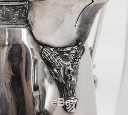 Antique Silverplate Tilting Water Pitcher With Horse Jumping Fence