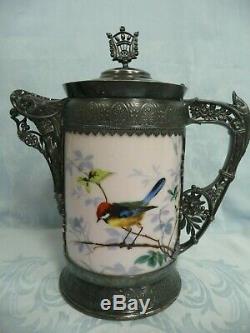 Antique Simpson Hall & Miller Quadruple Plate & Porcelain Water Pitcher