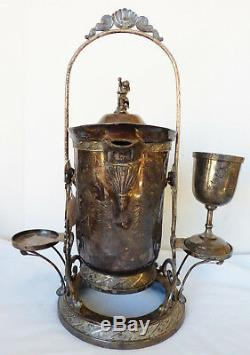 Antique Victorian Pelton Bros Silverplate Tipping Ice Water Pitcher Pot w Stand