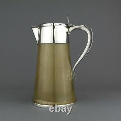 Antique Victorian Solid Sterling Silver & Horn Water / Claret Jug / Decanter