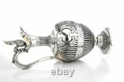 Antique Victorian Sterling silver claret jug/ water pitcher by Martin, Hall & Co
