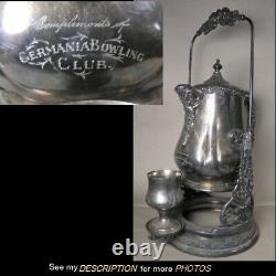 Antique Wm Rogers Silver Plate Water Tippler / Pitcher Germania Bowling Club