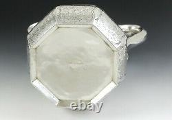 Antique c1840 American Coin Silver Engraved Forbes Water Pitcher/Jug